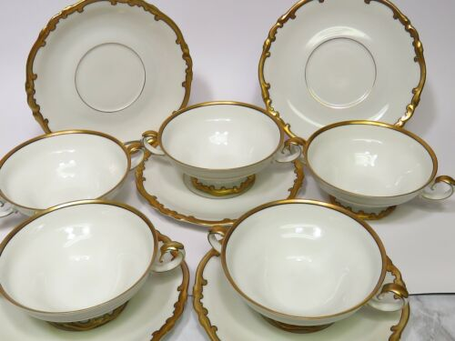Set 5 H & G Selb Bavaria Heinrich Heavy Gold White Cream Soup Bowls Underplates