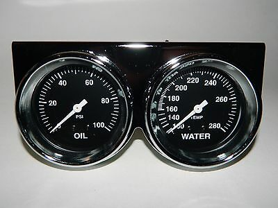 "NEW SUPER PRO DUAL 2 5/8"" GAUGE SET OIL PRESSURE WATER TEMP CHROME PANEL + BEZEL"