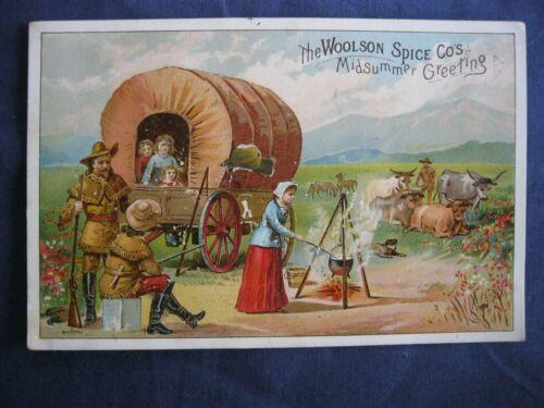 Victorian Trade Card Lion Coffee PIONEERS Covered Wagon Cowboy GUNS Camp G