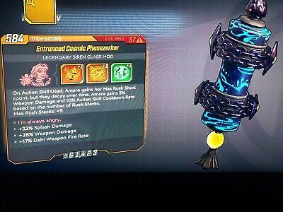 Level 57 Phasezerker Amara mod Splash dmg Weapon dmg Dahl Fire rate Xbox bl3