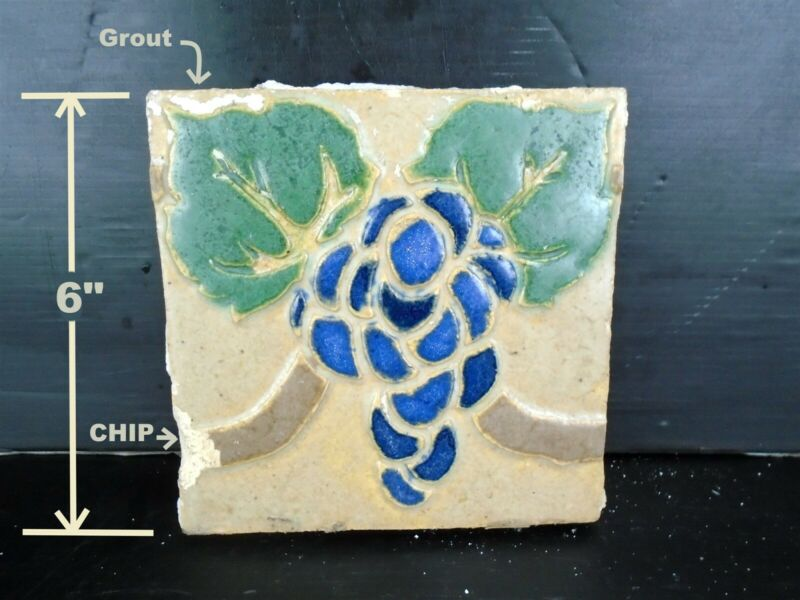 VERY RARE - Grueby Tile - (4 COLOR) w/BLUE GRAPES - 6x6 - w/MAKERS MARKS