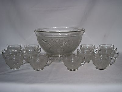 Vtg.Crystal Sandwich Glass Anchor Hocking Punch Bowl with Stand, 12 Cups-