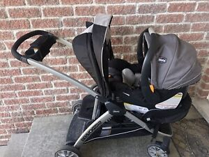 Sit and stand stroller plus infant car seat and base