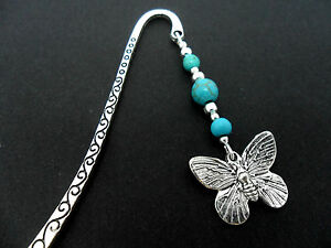 A TIBETAN SILVER  BUTTERFLY CHARM TURQUOISE BEADS BOOKMARK. NEW.
