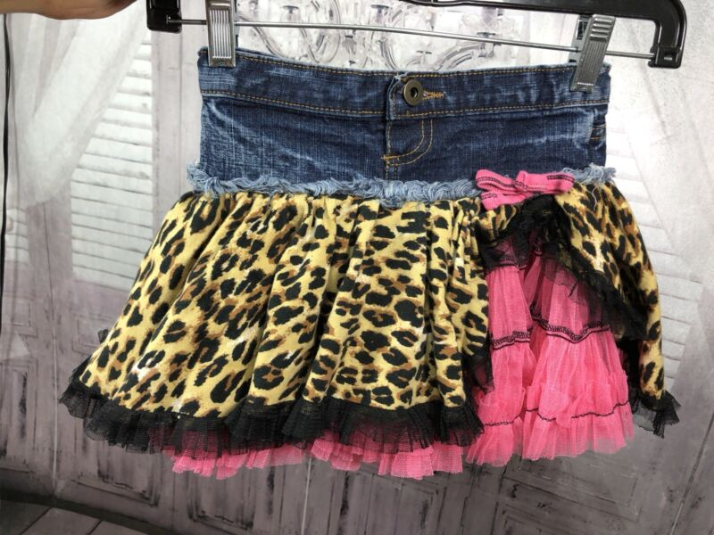 Ooh La La Couture Girls Denim Ruffle Twirl Skirt Emily Grace Leopard Pink Sz 6