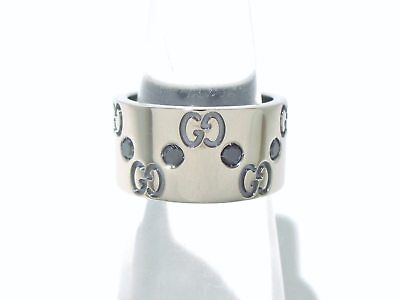 Auth GUCCI Icon Ring 18K White Gold BlackDiamond Ring#7