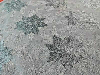 """70"""" Round Reversible Tablecloth Dark Green Poinsettia Christmas Cutting Fabric"""