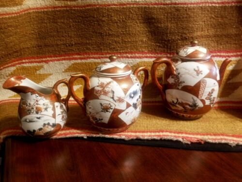 RARE SNOW MOUNTAIN JAPANESE TEASET SERVICE IMARI FAN DECOR w BIRDS & LANDSCAPE