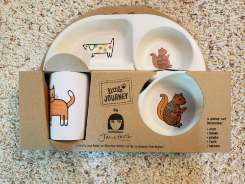LITTLE JOURNEY 5 PIECE ECO FEEDING SET JANE FOSTER LIMITED EDITION PLATE CUP +