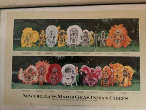 NEW ORLEANS MARDI GRAS INDIANS 1993 LARGE ORIGINAL LIMITED EDITION SIGNED POSTER