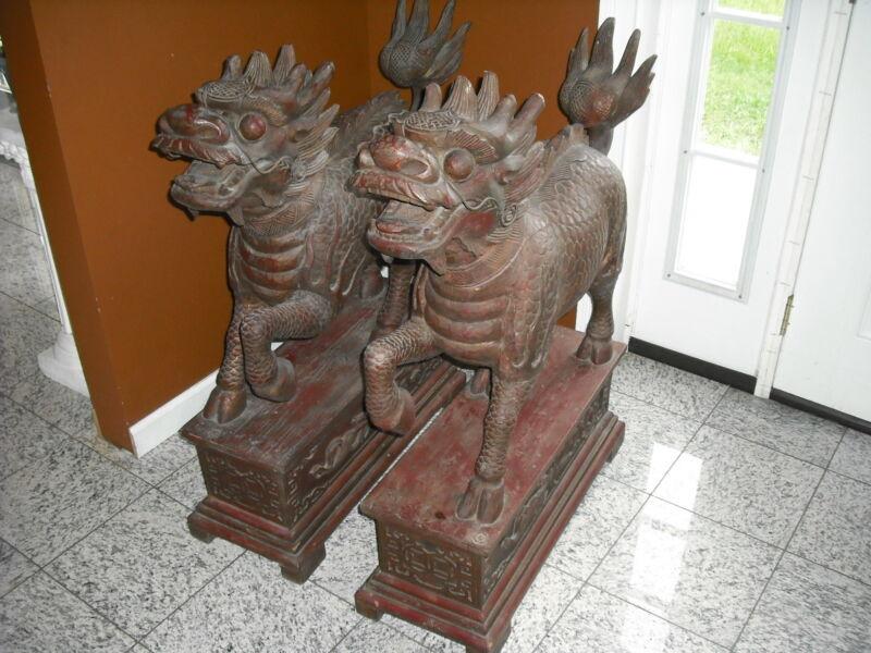 PAIR OF HUGE PALACE ROSEWOOD QILIN / CHI-LIN / KYLIN BEAST FOO DOGS  CHINESE