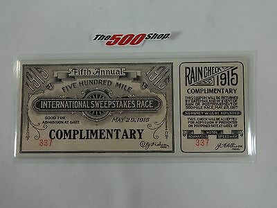 Reproduction 1915 500-Mile International Sweepstakes Race Ticket