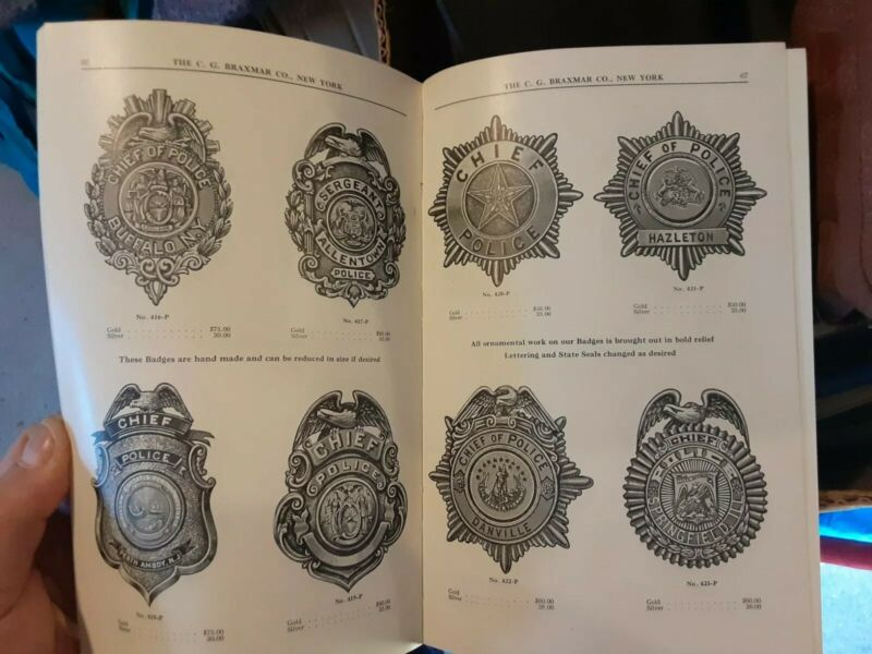 ILL. 1921 CATALOGUE FIRE & POLICE DEPARTMENT BADGES THE C.G.BRAXMAR CO 105 pages