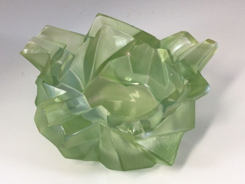 Consolidated Glass Ruba Rhombic Rombic Cubist Ashtray Jade Art Deco
