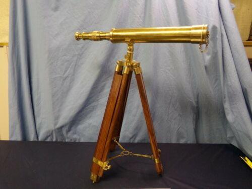 SOLID BRASS NAUTICAL SPYGLASS Telescope W/ TRIPOD - VERY NICE