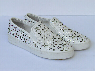 Michael Kors Olivia Perforated Slip-On White Sneaker Size 7