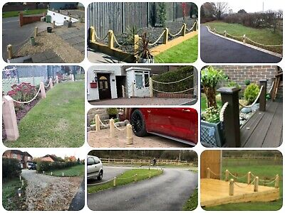 NO CONCRETE!Wood Post/Decking/Picket Rope Fence,driveway,path,garden,4 post,6m
