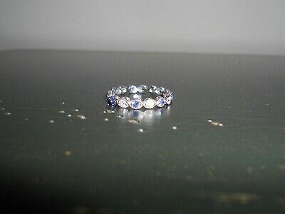 Tacori SS Simulated Sapphire CZ Eternity Ring Sz -