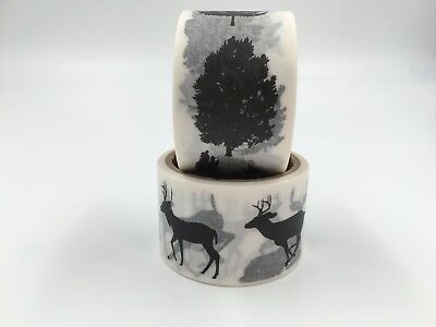 Black and White Woodland Washi Tape Deer Trees Animal Super Wide Fat 3cmx5M