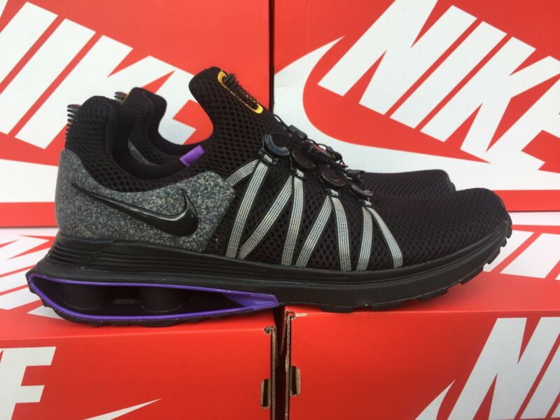competitive price f9fa9 b89bd NIKE SHOX GRAVITY Men s Running Shoes Black Gold Purple Lakers AR1999-005