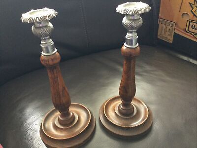 Pair Art Nouveau Wooden Pewter Topped Candlesticks
