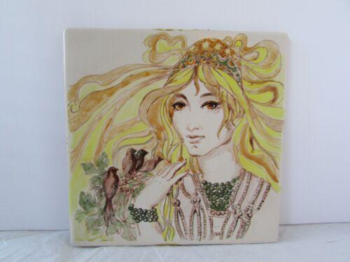 Vintge Ceramiche Girardi Tile SHN Hippie Boho Lady Art Tile 70s Hippie Girl Tile