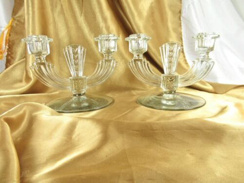 PAIR VINTAGE TIFFIN FRANCISCAN CLEAR GLASS DOUBLE CANDLESTICKS CANDLE HOLDERS