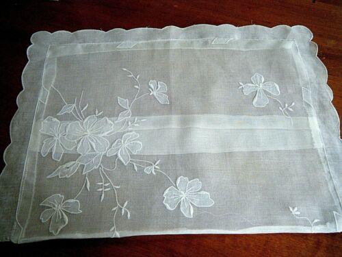 Antique boudoir Madeira decorative pilow case cover floral emb/ed design voile