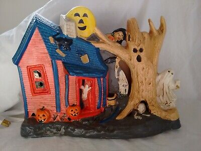 Vintage Halloween Ceramic Lighted Haunted House w/Tree Ghost Pacific Rim