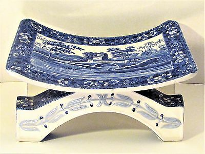 *RAREST MUSEUM ANTIQUE 1894 COPELAND SPODE TOWER ASHANTI BLUE & WHITE FOOT STOOL