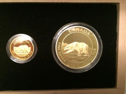 Coin Proof Box Set Canada $8 Silver 1.5 oz & $10 Gold 1/4 oz  2013 Polar Bear