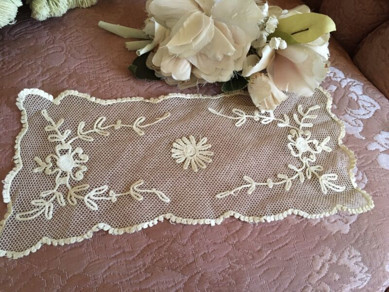 Antique French Tambour Lace Table Runner / Doily Cotton Netting #F4