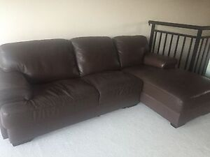 Sofa - brown leather corner sofa Manly Vale Manly Area Preview