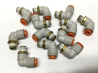 Lot Of 12 Smc Kq2l11-35as Pneumatic Fittings Elbow 38 Tube 14 Npt Thread