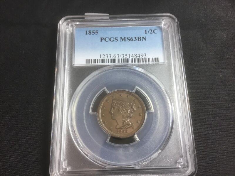 1855 Braided Hair Half Cent PCGS graded MS63BN  ( 1/2C )