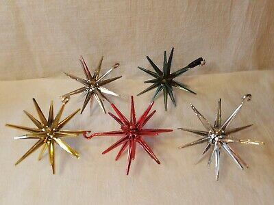 Vintage Bradford Plastic Christmas Tree Sputnik Ornaments Set of 5 Bradford Christmas Ornaments