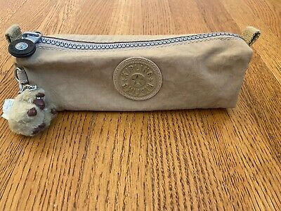 Kipling Vintage Beige Freedom Pencil Case Zip Pouch With Eva Monkey