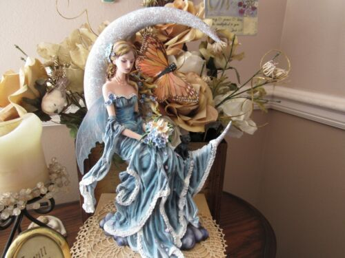 Nene Thomas WIND MOON Fairy Figurine on moon by Pacific Giftware NEW IN BOX