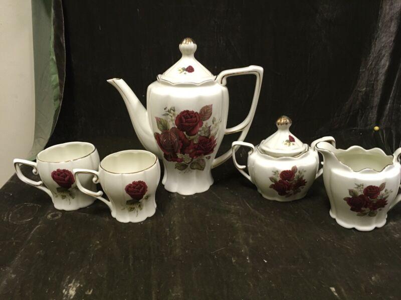 Vintage 7 Pc Rose Pattern Tea Set