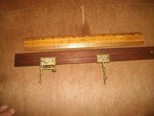 V242 Antique Brass & Mahogany Trammel Points & Bar TALTENDER & SONS Compass