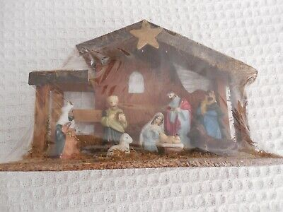 New Christmas Nativity Set one piece Wooden Stable