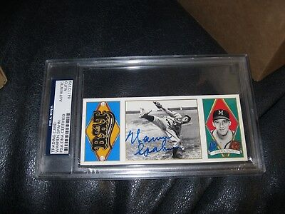 Warren Spahn Autographed Card Rare PSA Cert Encapsulated