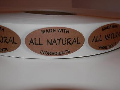 Made With All Natural Ingredients 1x2 Oval Sticker Label Kraft 250rl