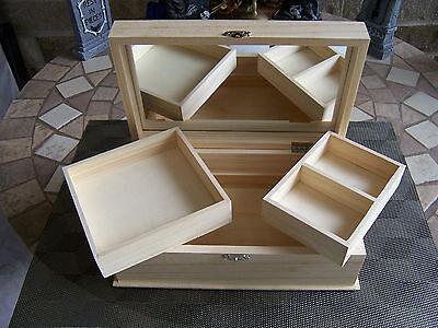 "(1) Unfinished LARGE Wood Craft  Jewelry / Trinket Storage Box Pet  9 ""x 5 1/4"""