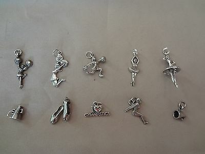 (10)--VINTAGE STERLING SILVER CHARMS--CHEER--DANCE--SWIM--GYMNASTICS- OLD SILVER