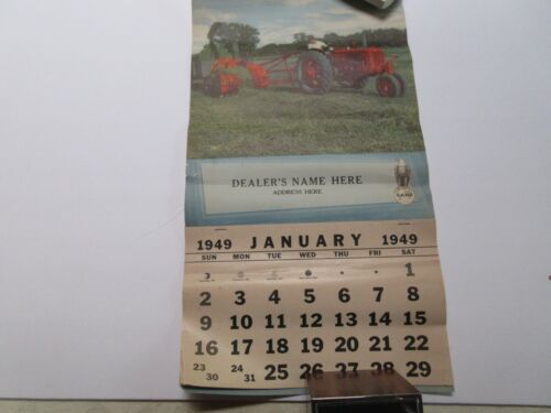 RARE Case Tractor Calendar 1949 Salesman Sample