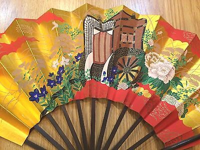 Japanese Wood and Paper Folding Fan with Stand