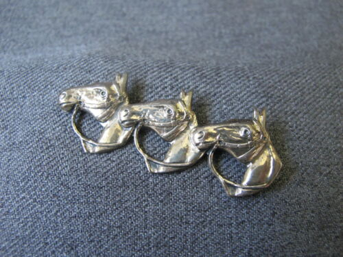 Vintage marked Sterling 3 horses pin