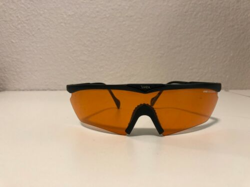Vintage UVEX RACE ACROSS SAFETY GLASSES WRAP AROUND AMBER LENS