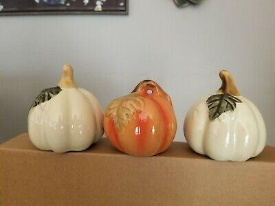 Set Of 3 Glossy Ceramic Pumpkins